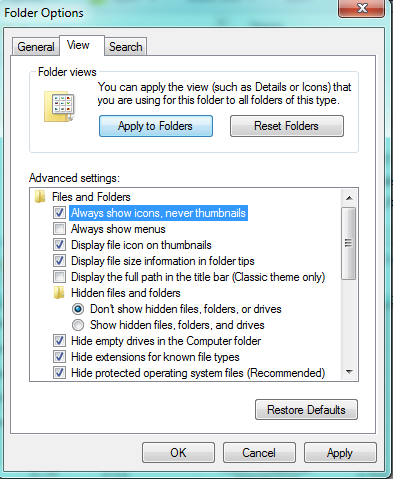 Windows explorer Folder Options Show View always show icons never thumbnails ticked screenshot