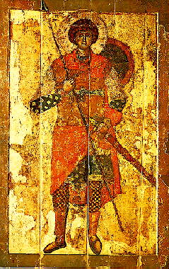 saint George Christian icon Yuriev Monastery Novgorod 12th century