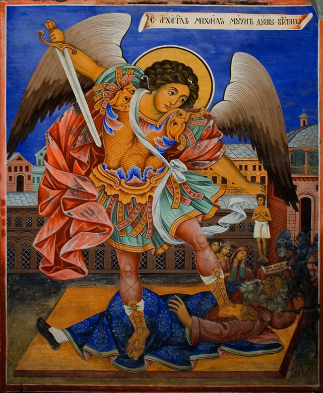 Archangel-Michael-collecting-soul-of-a-dead-man