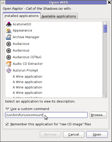 GNOME Open with menu Debian GNU / Linux