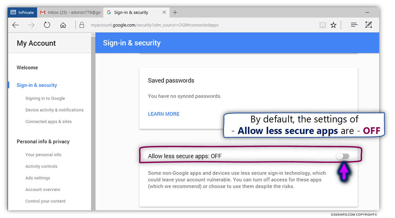 Gmail-password-Allow-less-secure-apps-ON-screenshot-howto-to-be-able-to-send-email-with-text-commands-with-encryption-and-outlook