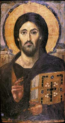 The Lord Jesus Christ Sinai monastery ancient icon Pantocrator from the 6th century