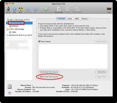 Mac OS X 10.8.6 Disk Utility Repair Disk Permissions screenshot