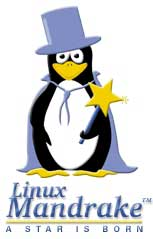 Mandrake Linux old distribution logo, magician penguin