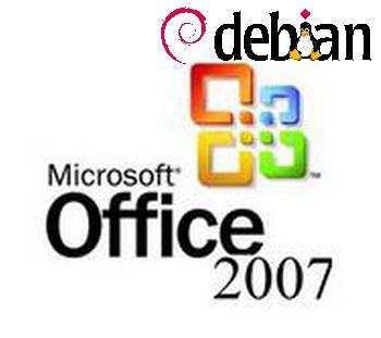 Install Microsoft Office 2007 on Debian GNU / Linux Wheezy / Debian and Microsoft Office logo