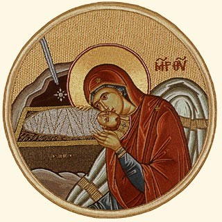Nativity of the Lord Jesus Christ Mother mary bowing Christ orthdox icon