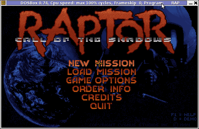 Raptor Call of the Shadows main screen linux debian
