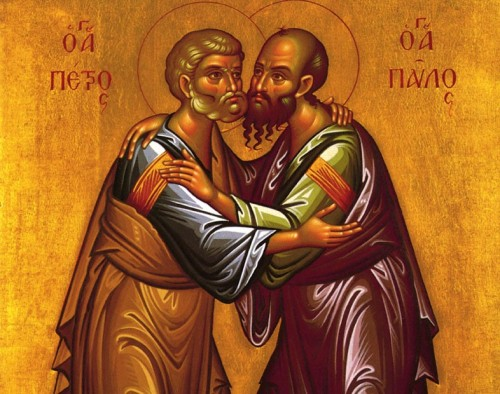 Saint-Apostle-Paul-and-Peter-embrace