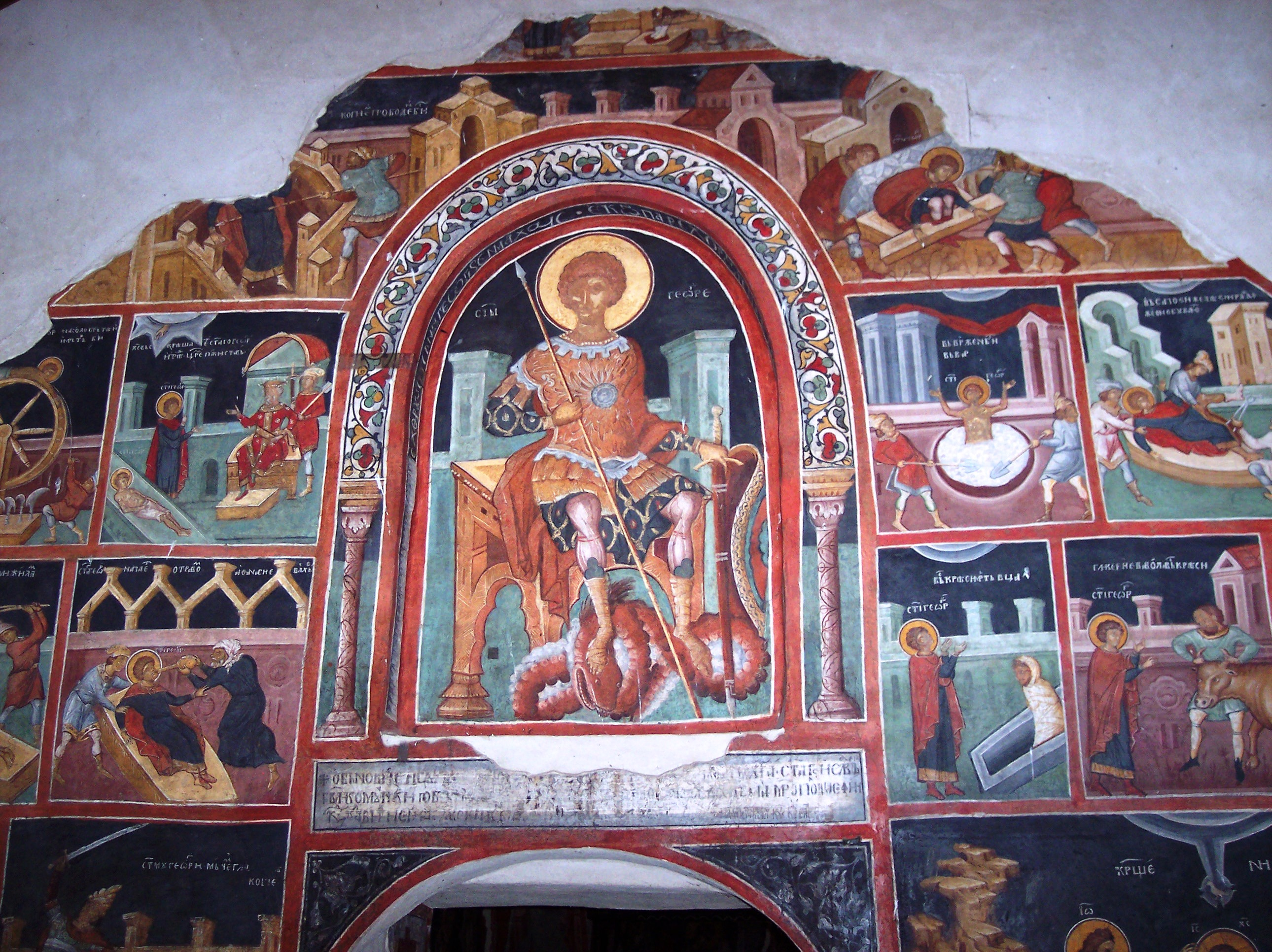 Saint_George-on-a-Throne-with-foot-over-the-dead-dragn-satan-Kremikovski-monastery-Church-icon