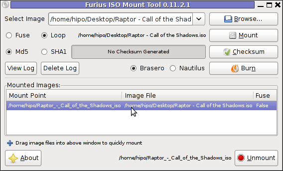 Screenshot ISO Mount Tool Debian GNU/Linux Screenshot