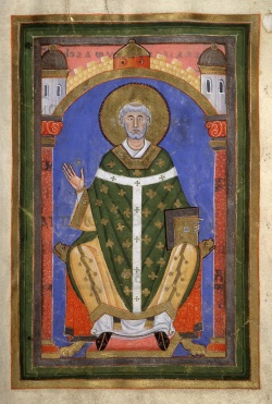 Saint Willibrord Bishop of Utrecht sitting on his Bishop throne