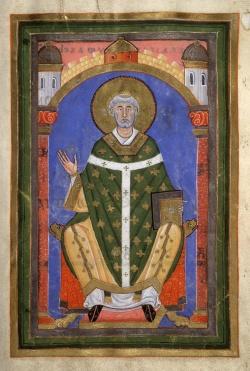 Saint Willibrord Bishop of Utrecht sitting on his Bishop throne