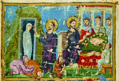The_Resurrection-of-the-Righteous-Lazarus-Christ-in-the-home-of-Simon-the-Lepper-fresco-of-homilies-of-saint-Gregory_Nizianzin