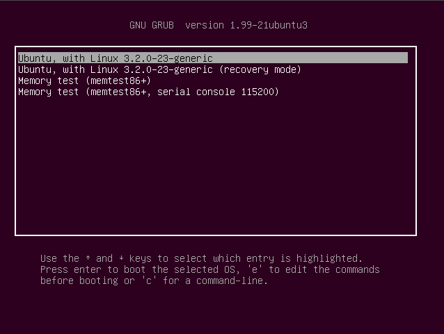 Ubuntu Linux version 12.04 GRUB boot textscreen picture