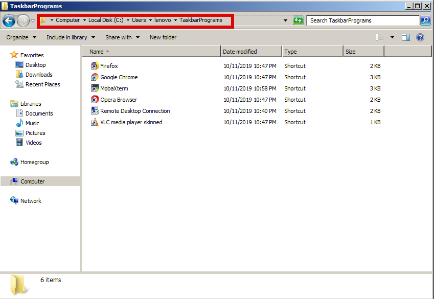 User-TaskBarPrograms-new-folder-to-contain-applications-that-willb-be-shown-onwindows-7-pane