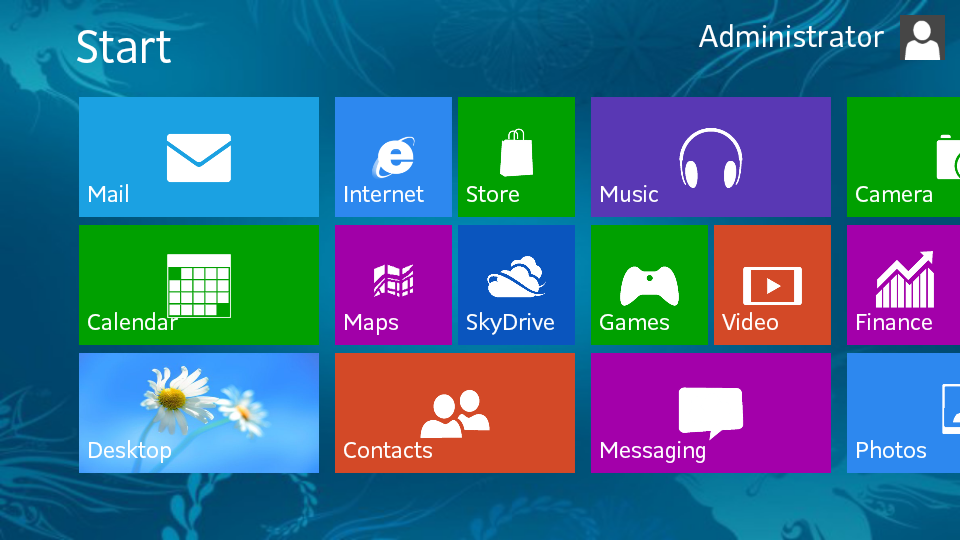 Windows 8 terrible Graphic interface interface fake Start screenshot