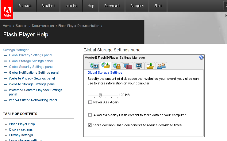Adobe Flash Player online settings manager unticked option