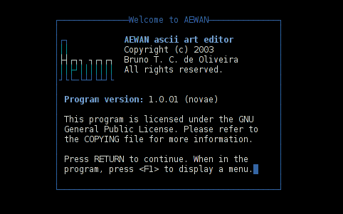 AEWAN ASCII art editor entry information screen Debian GNU / Linux shot