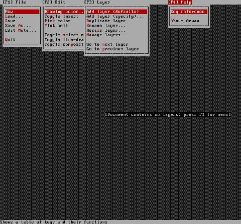 Aewan ASCII art editor Linux showing the major functionality of aewan on Debian GNU / Linux Squeeze