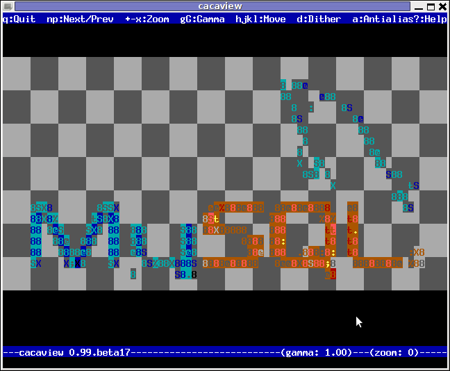 cacaview displaying MySQL database logo in ASCII using caca for X