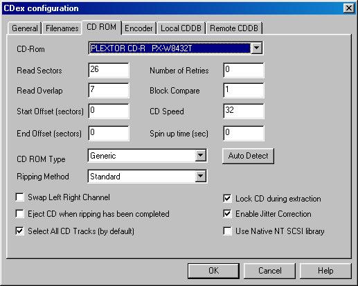 cdex configuration options screeshot windows xp