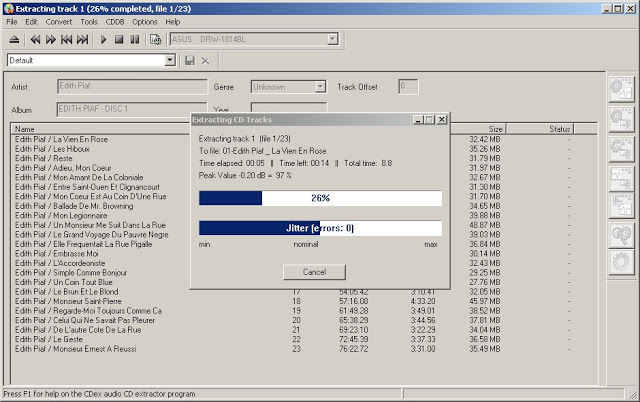 cdex ripping audio cdrom in action / cdex burning audio CD rom to mp3