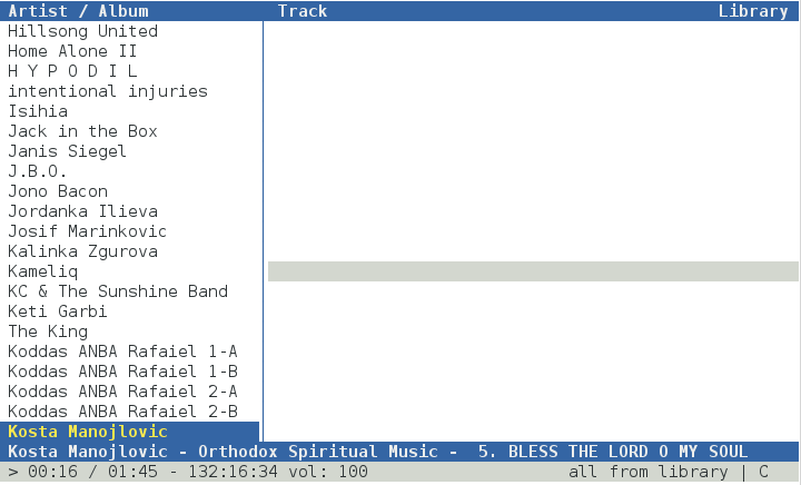 Cmus tiny console terminal gnu linux mp3 music player screenshot