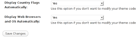 Comments Info Detector WordPress plugin configuration Screenshot