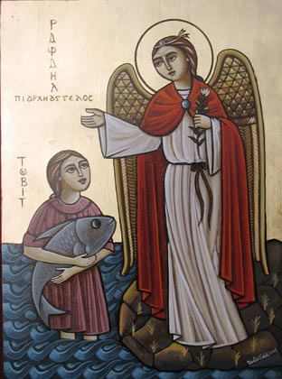 Coptic Oriental Orthodox Icon Tobias old testamential Book story