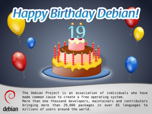 Debian GNU / Linux 19 years birthday picture