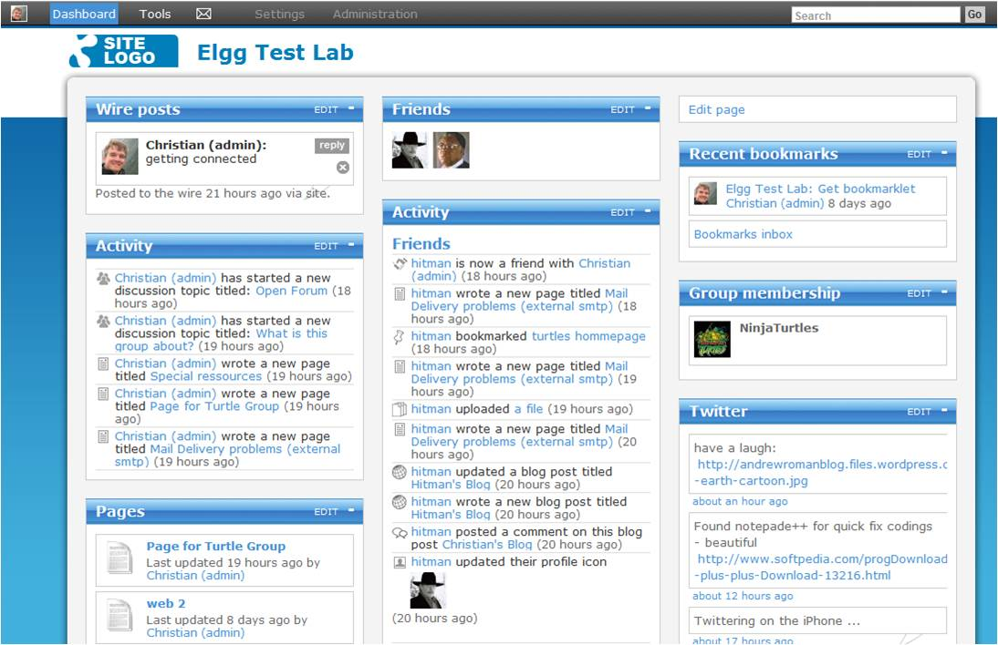 elgg-free-software-social-network-test-experimental-dashboard