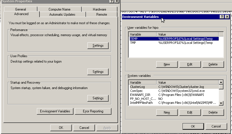 Windows environment variables screenshot