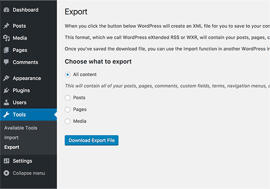 export-content-wordpress-website-screenshot-howto