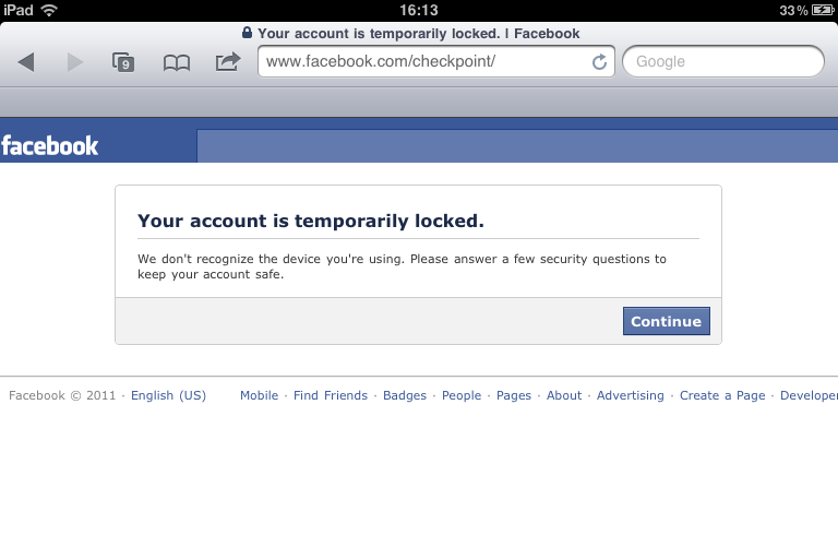 Facebook privacy breach again facebook your account is temporary locked