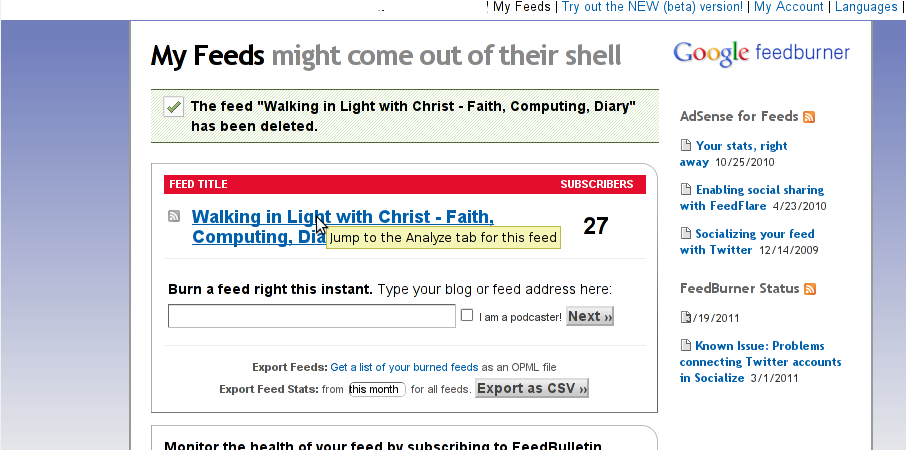 Feedburner configure Myfeeds screenshot