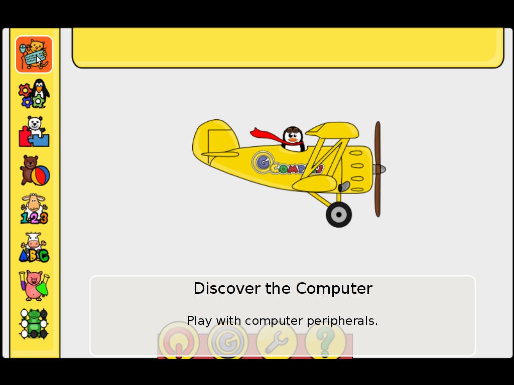 Gcompris Main entry Screen