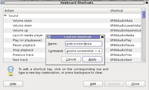 GNOME add keyboard shortcut map key for area interactive screenshot