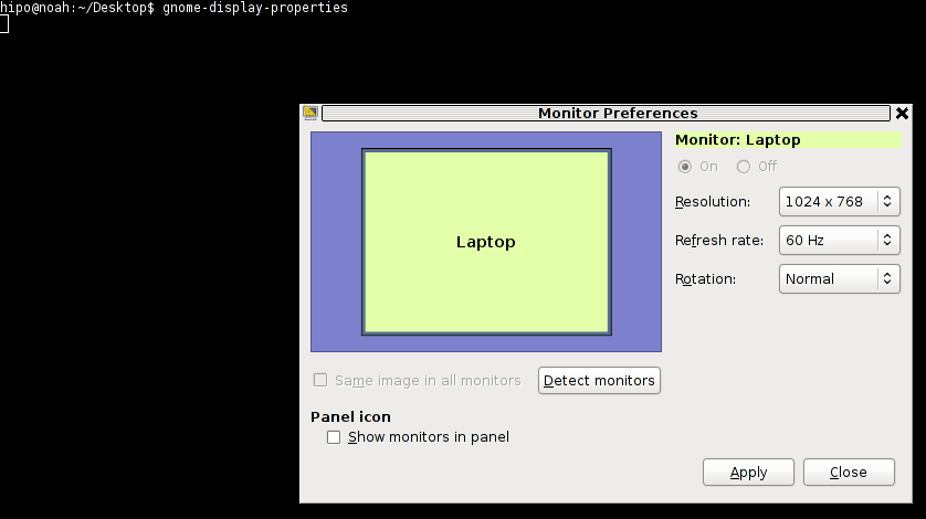 GNOME display properties command to launch monitors screen resolution settings