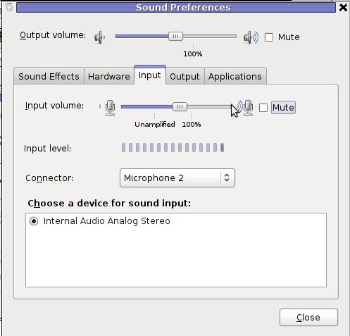 GNOME sound preferences unmute mic linux