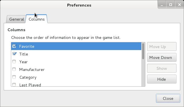 Gnome video arcade games on debian linux preferences columns