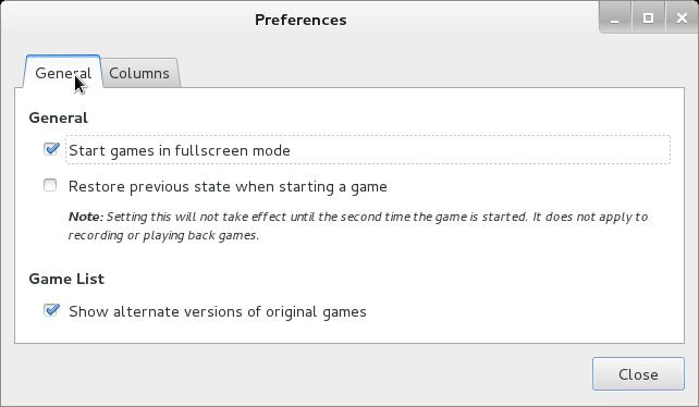 GNOME Video arcade Debian Linux preferences general