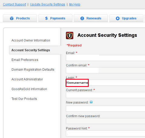 Godaddy account security settings screenshot change username and password in Godaddy
