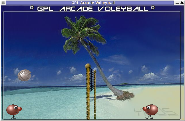GPL Arcade Volleyball Yisus theme gameplay GNU / Linux