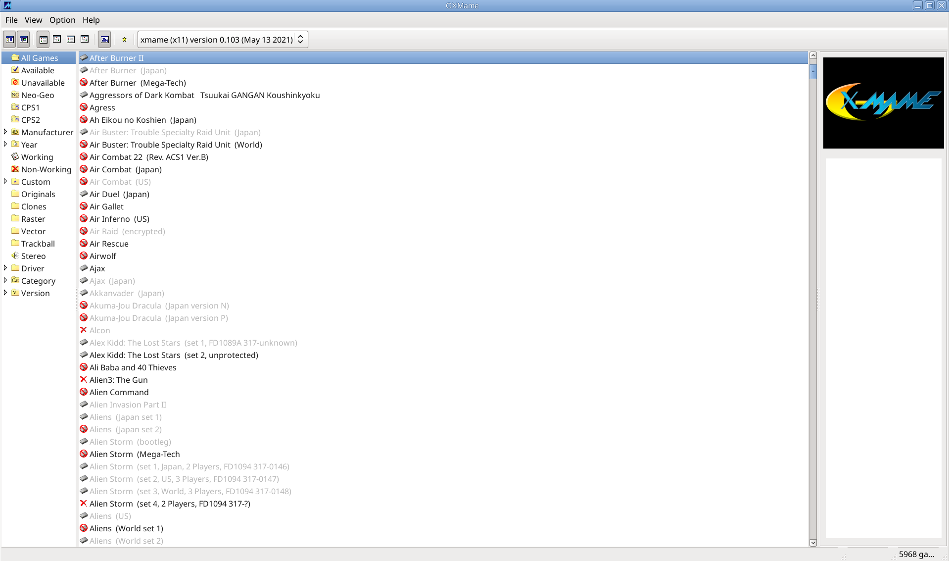 gxmame-screenshot-debian-10-gnu-linux-mate-desktop