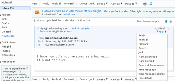 Hotmail View Email Headers Screenshot