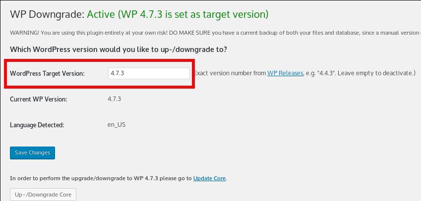 how-to-downgrade-wordpress-easily-to-a-previous-prior-release-wp-downgrade-screenshot