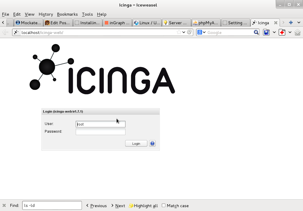 icinga web login screen in browser debian gnu linux