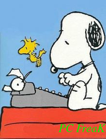Snoopy Writting pc freak watermark picture text watermark on the right bottom corner with composite