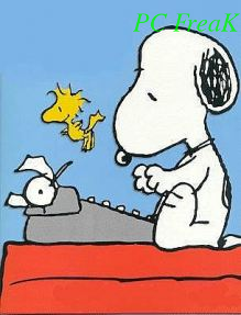 Snoopy Writting pc freak picture text watermark on the right bottom corner with composite
