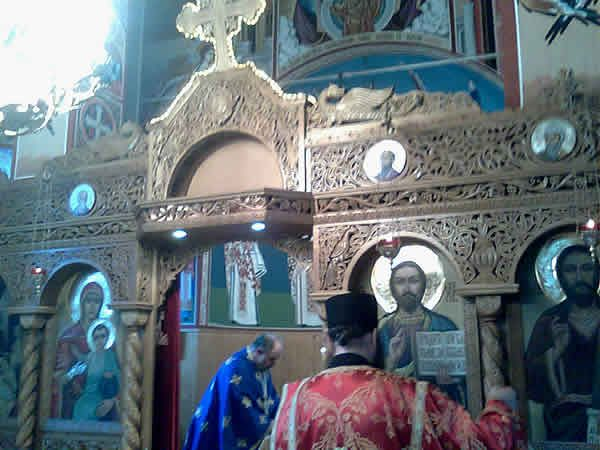 Inside the monastic Church view to alter doorway Kabile Monastery Bulgaria